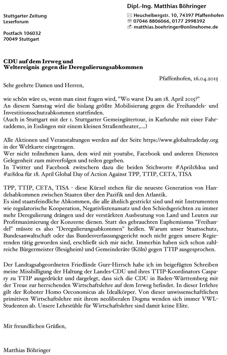 Stuttgarter Zeitung Leserbriefe